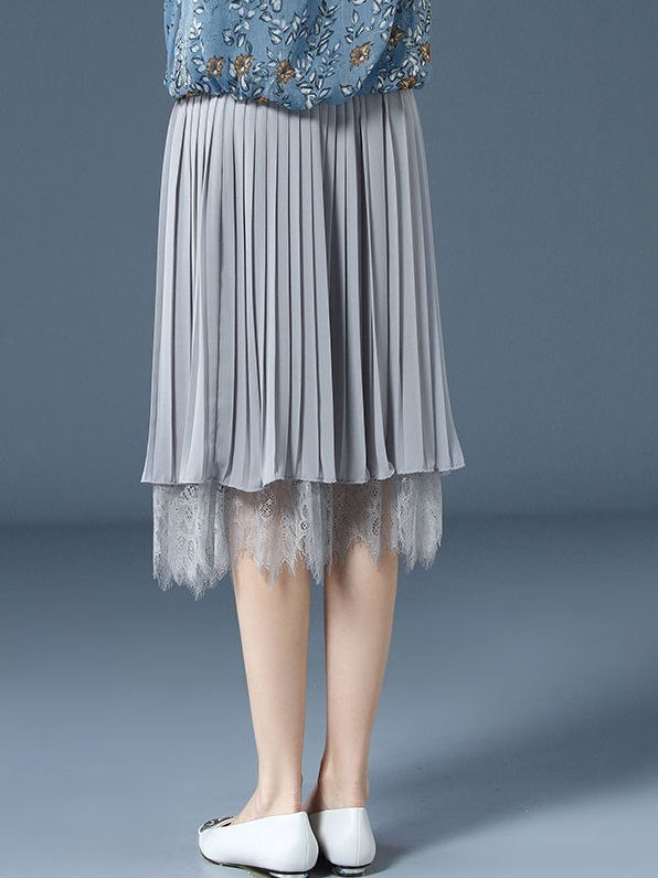 Ohanna Grey Pleat Lace Skirt
