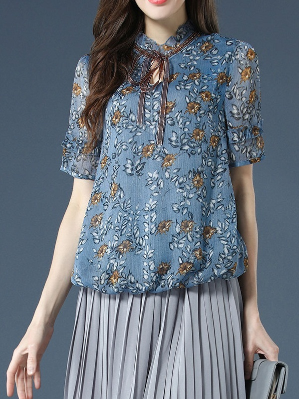 Ohana Beaded Collar Blue Floral Keyhole Blouse