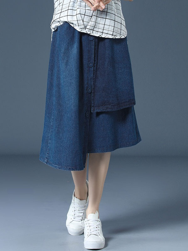 Oghenerioborue Denim Button Layer Midi Skirt