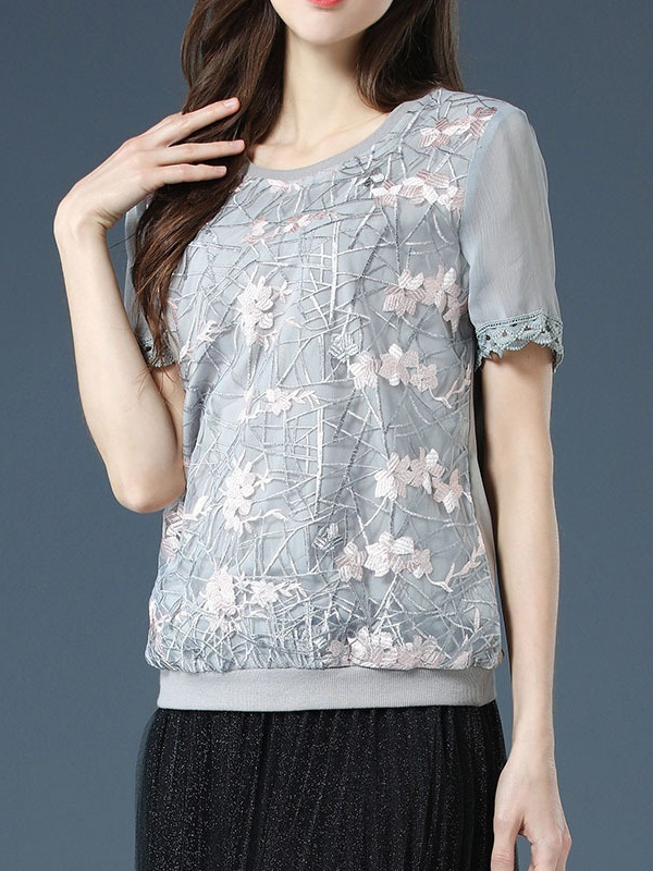 [SPECIAL]  Ofeibea Embroidery Lace Grey Raglan Blouse
