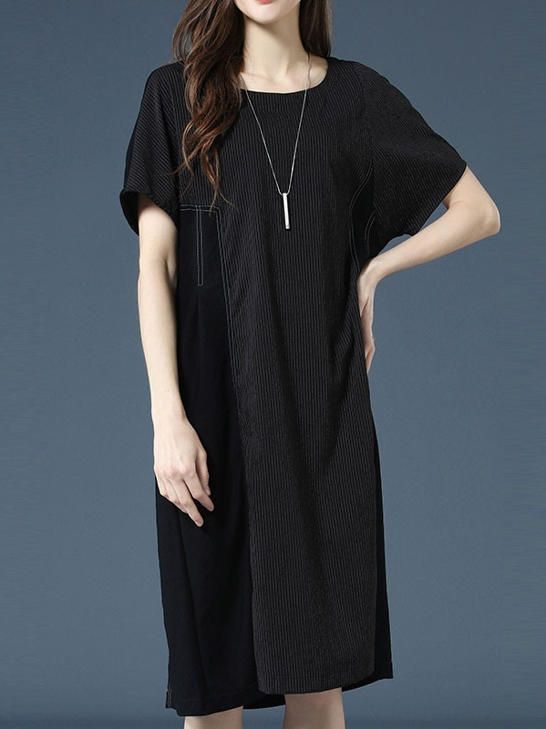 [SPECIAL] Odina Stripe Stitch Black Layer Midi Dress