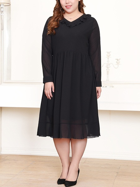 Noemí Frill V-neck Flare L/S Dress