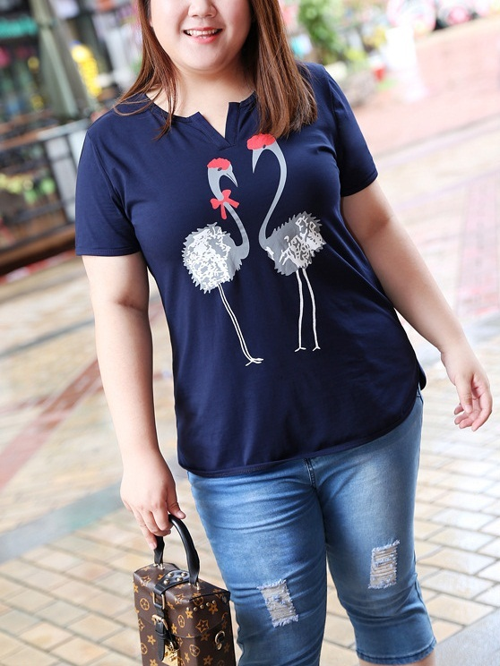 Nim Cranes V-Neck Cotton Tee
