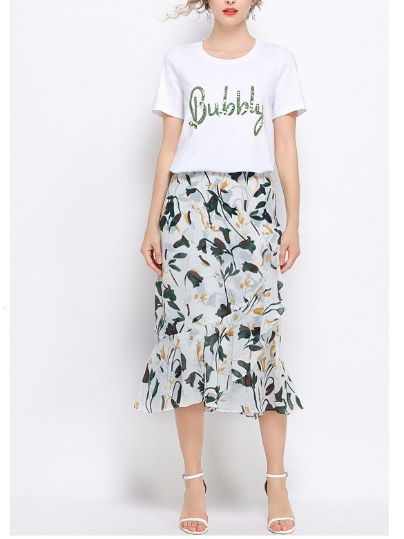 (2 PC) Tee and Floral Skirt Set
