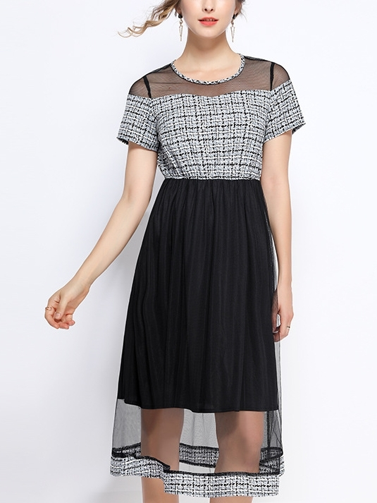 Houndstooth Mesh Print Midi Dress