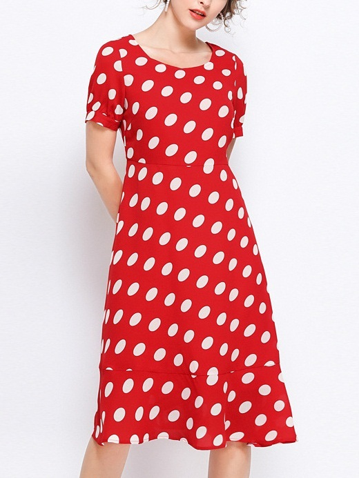 Penny Red Big Polka Dots Frill Hem Dress