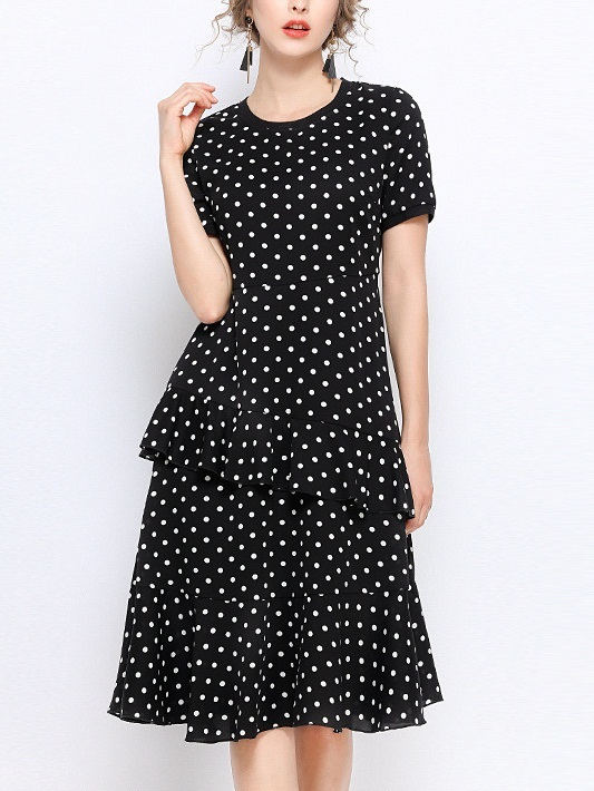 Penna Tier Black Polka Dots Dress