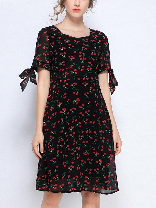 Pema Cherry Ribbon Sleeve Dress