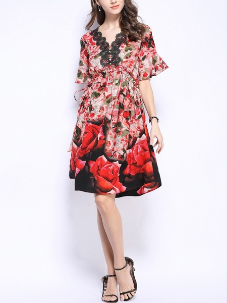 Pele Rose Floral Chiffon Bell Sleeve Dress