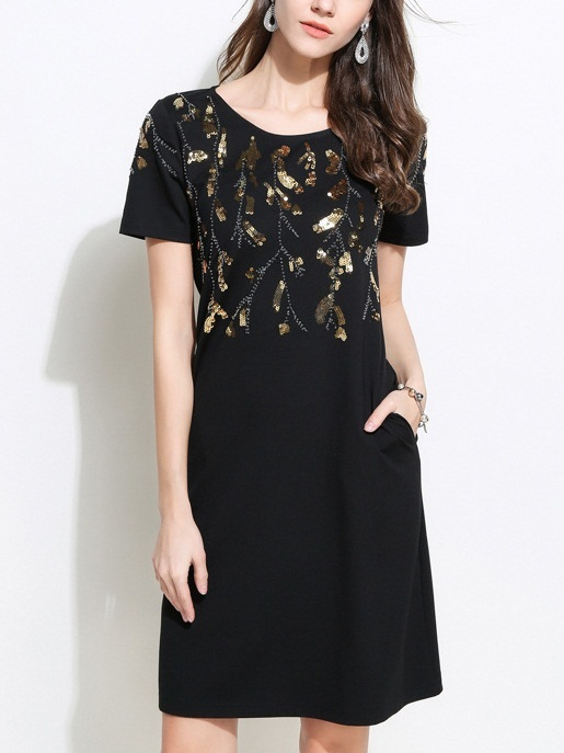 Pelagia Gold Sequin Black Dress