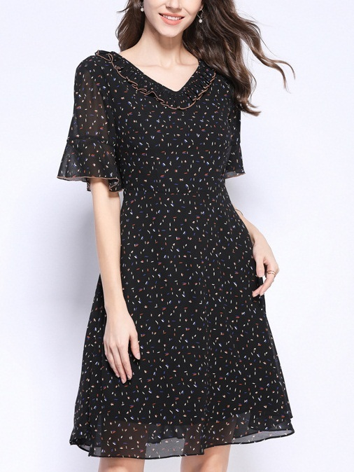 Peggy Black Confetti Bell Sleeve Frill Neck Dress
