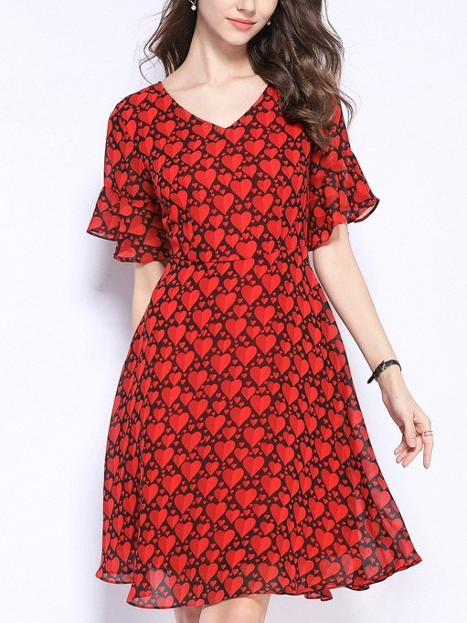 Pegeen Red Hearts Bell Sleeve Dress
