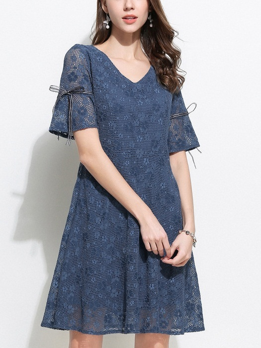Peg Blue Ribbon Bell Sleeve Swing Lace Dress