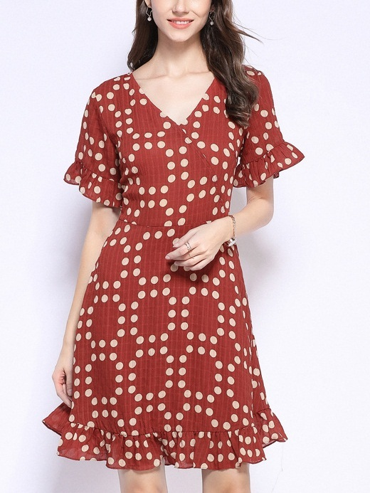 Pedra Red Wrap Bell Sleeve Polka Dots Dress