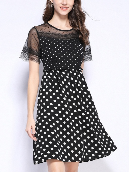 Pecola Polka Dots and Eyelash Lace Dress