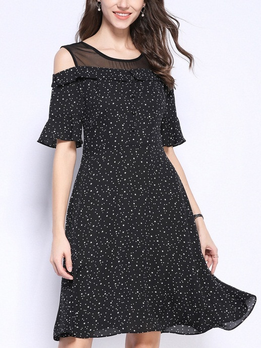 Pebbles Off Shoulder Bell Sleeve Stars and Polka Dots Dress