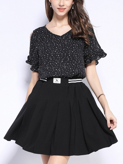 Pear Chains Sleeve Stars and Polka Dots V Neck Blouse