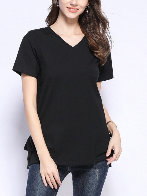 Peaches V Neck Ribbon Side Tie Black Tee Shirt