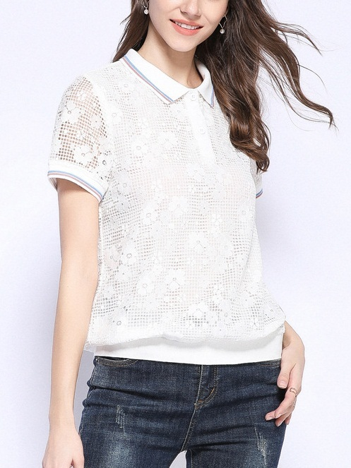 Peace White Lace Polo Tee Shirt Blouse