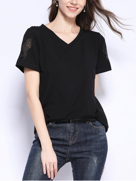 Paz Butterfly Applique Sleeve V Neck Tee Shirt