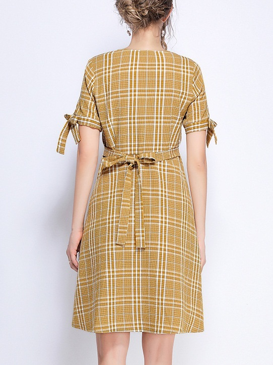 Phylicia Yellow Checks Square Neck Ribbon Sleeve Dress