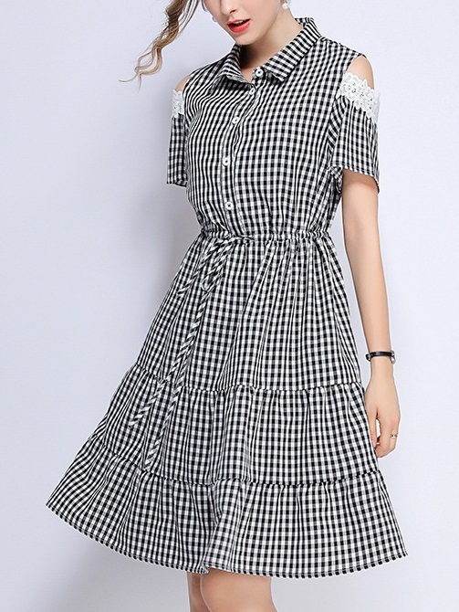 Phryne Black Gingham Off Shoulder Lace Sleeve Dress
