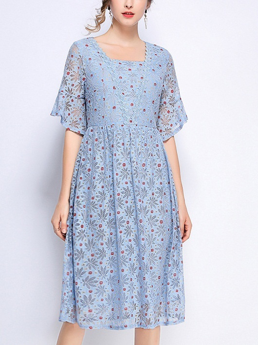 Phoenix Blue Floral Lace Dress