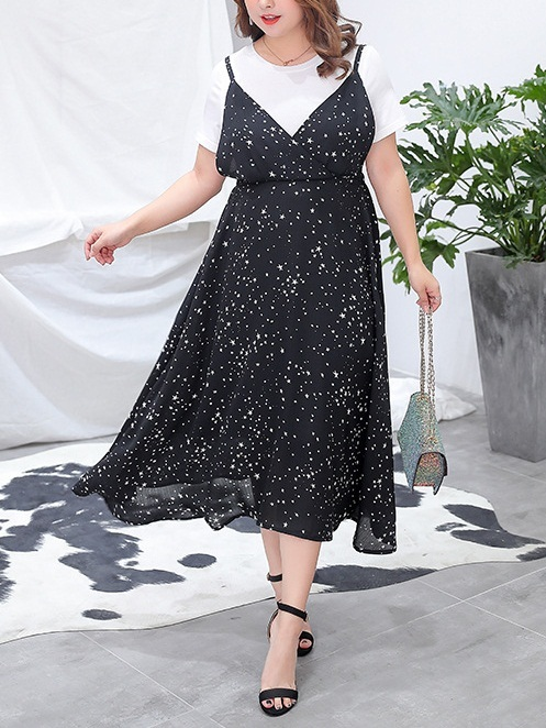 (2 Piece) Promise White Tee Shirt and Stars Print V Neck Midi Dress