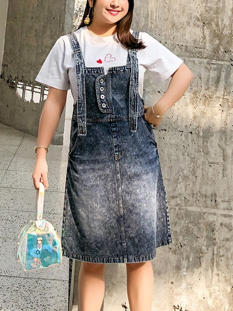 Psyche Acid Wash Denim Suspender Dungaree Skirt Dress