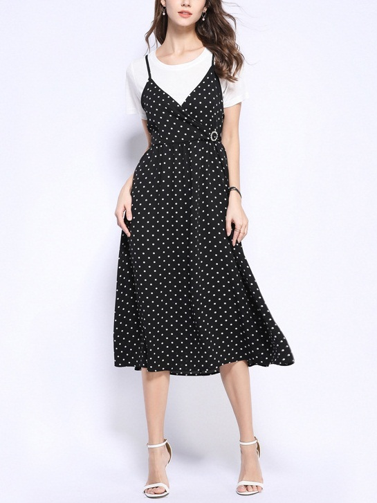 (2 PIECE SET) Quintana White Tee and Wrap V Neck Diamante Collar Camisole Black Polka Dots Midi Dress