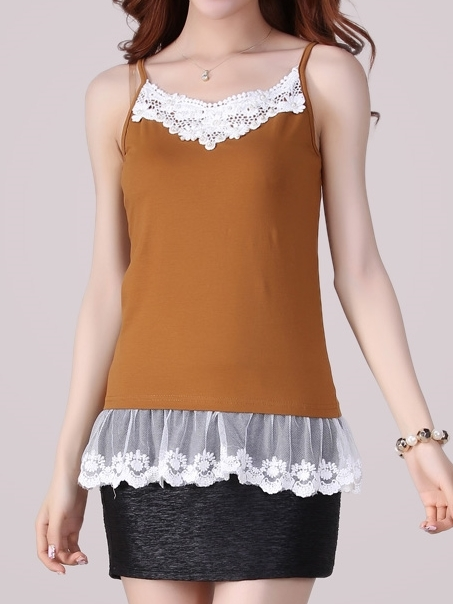 Lace Hem Sleeveless Blouse (4XL Ready Stock x 1)