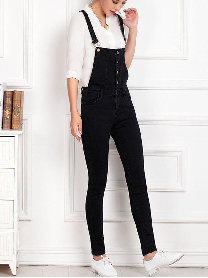 Charcoal Denim Dungarees Overalls