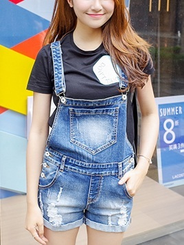Lisa Denim Distressed Romper Overalls Shorts(EXTRA BIG!)