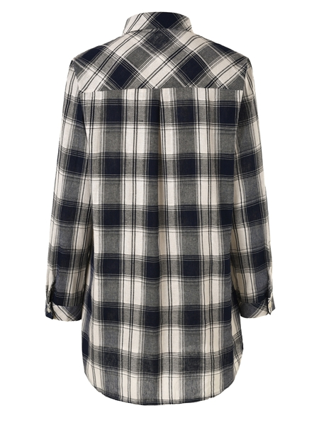 Anne Linen Plaid Tunic Shirt [Ready Stock Available]