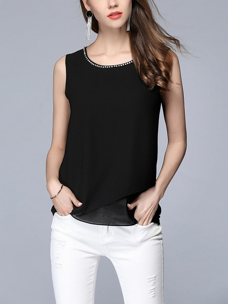 Alvah Diamante Neckline Sleeveless Blouse