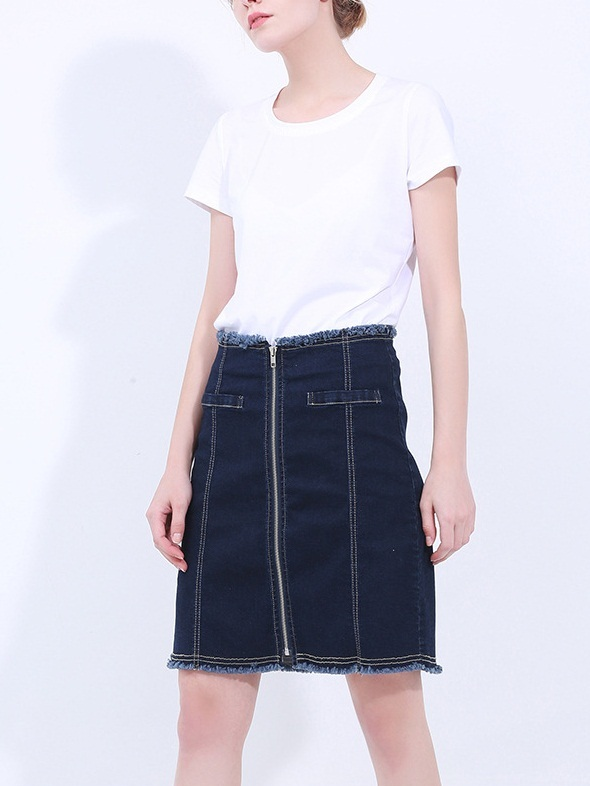 Jenavieve Denim Zip Skirt