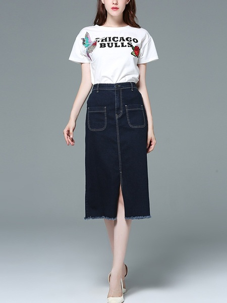 Jenetta Midi Split Denim Skirt