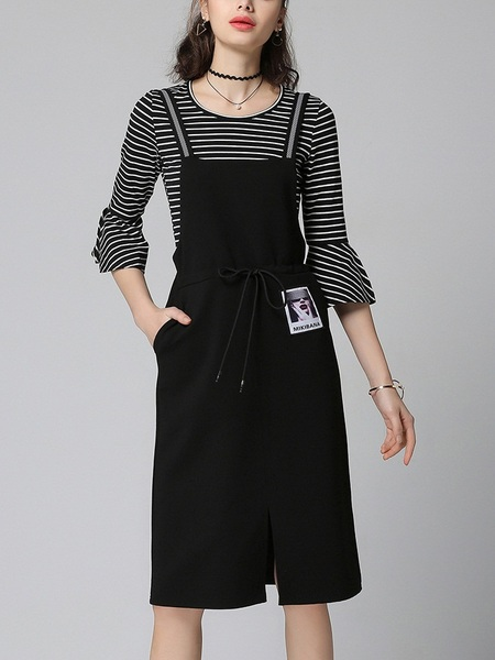 (Ready Stock 2XL *1 and 5XL *1) [SET] Katana Stripe Bell Top + Pinafore Dress 2 Piece Set