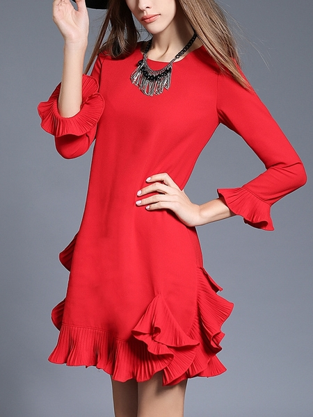 (Ready Stock Red 5XL *1, Red L *1 and Black L *1) Pleat Frill Party Dress