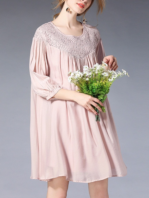 (Ready Stock 2XL *1) Keersten Lace Yoke Dress (Pink)