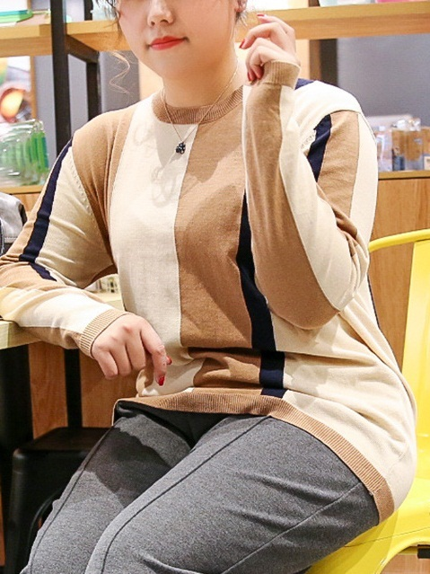 Laurel Knit Camel Tone Colourblock Sweater (EXTRA BIG SIZE)