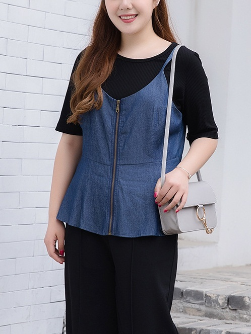 Lavonne Denim Sleeveless Peplum Top