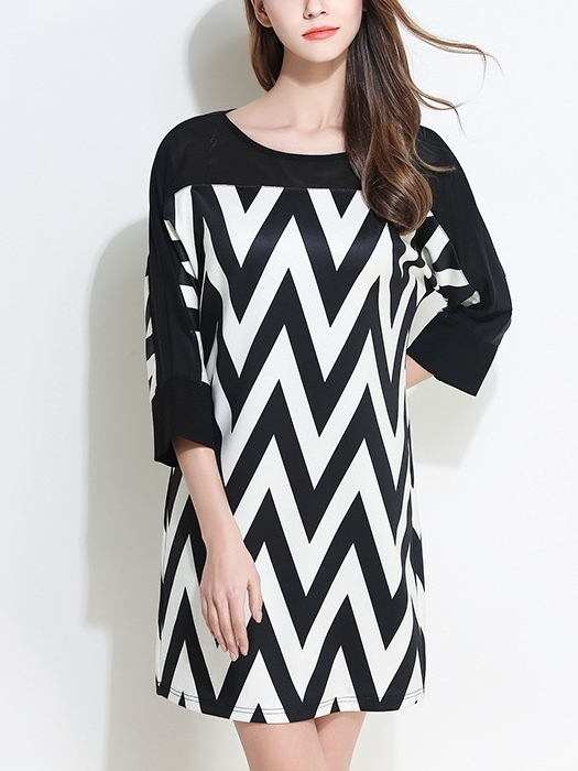 (Ready Stock 3XL * 1) Freda Chevron Batwing Dress