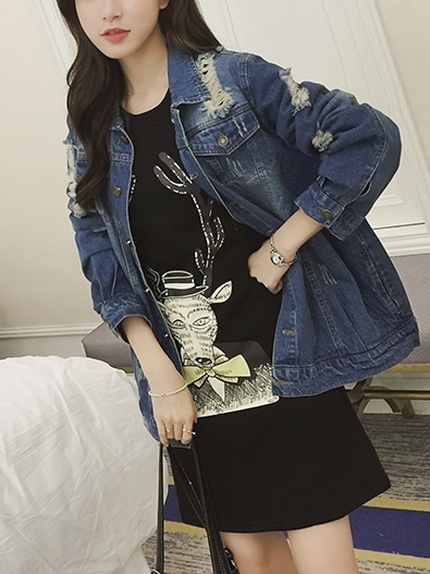 Distressed Denim Jacket (EXTRA BIG SIZE)