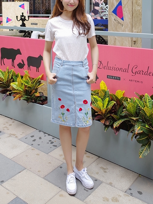 Split Floral Embroidery Skirt (EXTRA BIG SIZE)
