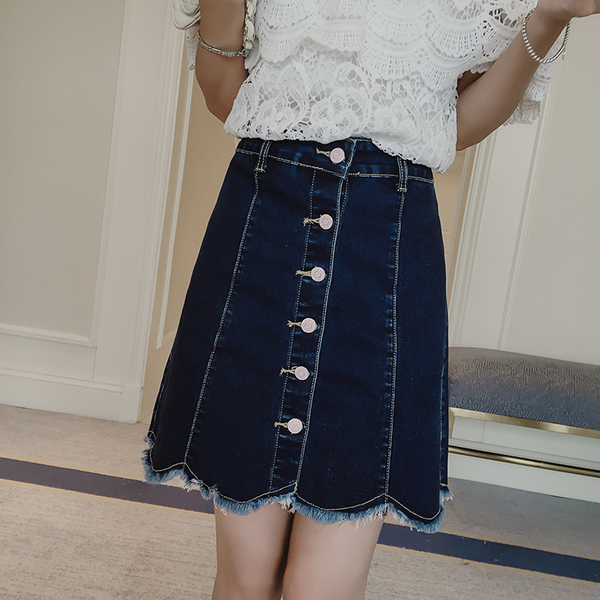 Scallop Denim Skirt (EXTRA BIG SIZE)