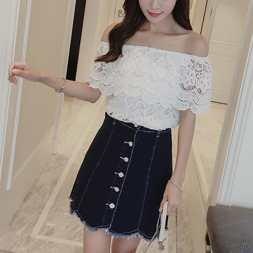White Lace Off Shoulder Lace Blouse (EXTRA BIG SIZE)