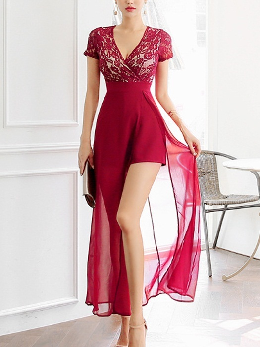 Loreena Stunning Red Lace Maxi Dress