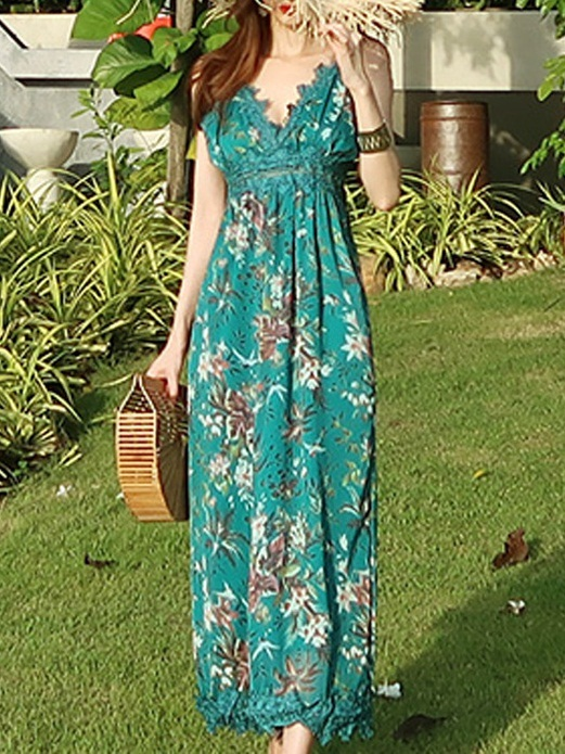 Lorelei Green Lace Maxi Dress