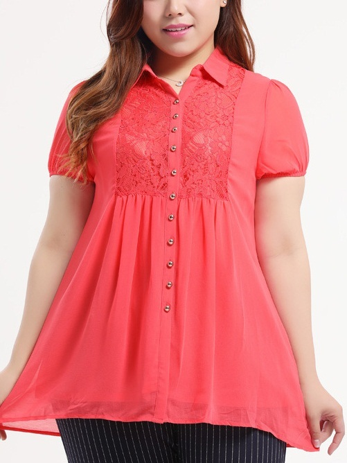 Luella Lace Layer Chiffon Shirt Blouse (EXTRA BIG)